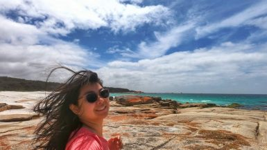 white sand beaches, red lichen covered rocks, blue ocean water - Bay of Fires, Tasmania, Australia