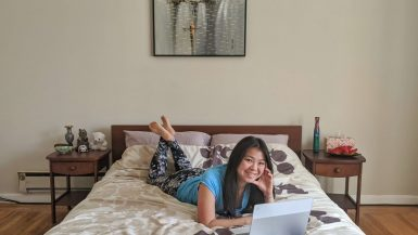 working from bedroom in home